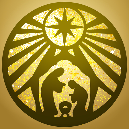 Holy family Christian silhouette icon illustration gold  background. Scene of the Holy Bible