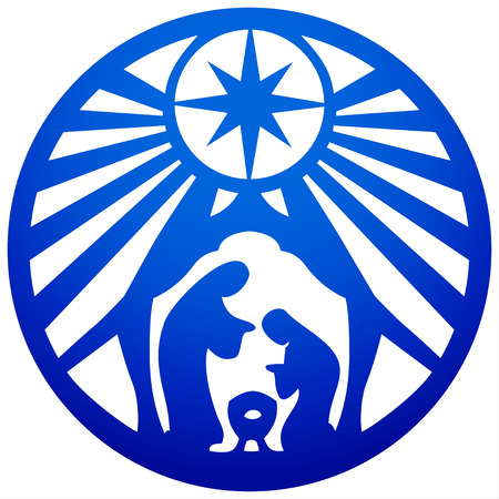 Holy family Christian silhouette icon illustration blue on white background. Scene of the Holy Bible