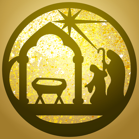 christmas star background: Adoration of the Magi silhouette icon illustration black on white background. Scene of the Holy Bible