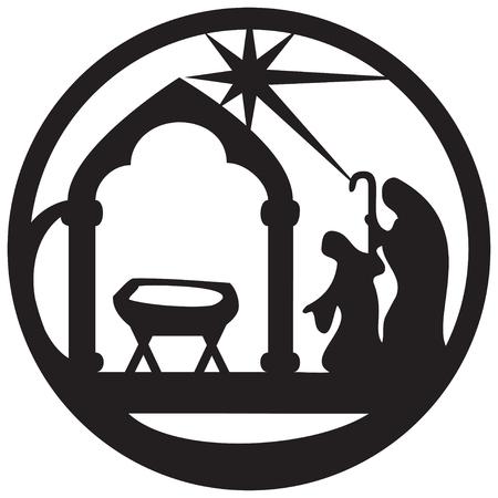 Adoración de los Magos icono ilustración silueta en negro sobre fondo blanco. Escena de la Santa Biblia