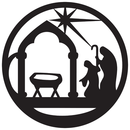 Adoration of the Magi silhouette icon illustration black on white background. Scene of the Holy Bible