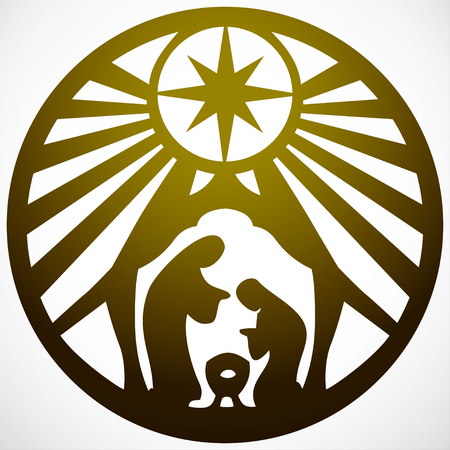Holy family Christian silhouette icon illustration gold on white background. Scene of the Holy Bible