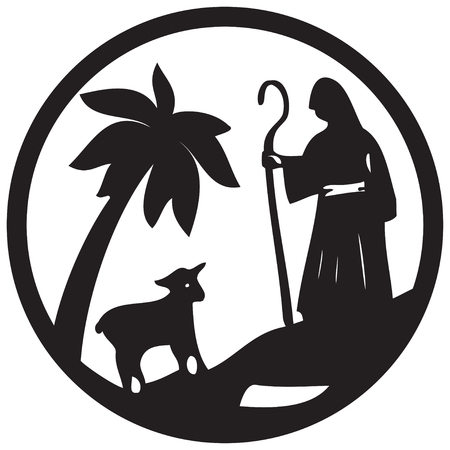 shepherd with sheep: Shepherd and Sheep silhouette icon illustration black on white background. Scene of the Holy Bible