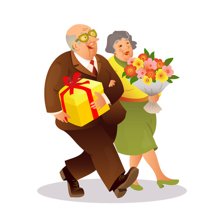 festively: Happy elderly couple with a bouquet of flowers and gift. Funny older man and a woman go on celebration. Festively dressed old couple. Colorful cartoon vector illustration on white background