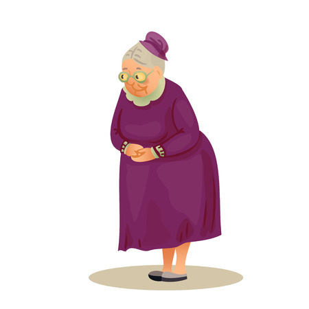 festively: Funny elderly lady with glasses. Grandmother standing with folded hands. Festively dressed old woman in a hat. Colorful cartoon vector illustration on white background