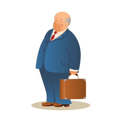 mature business man: Funny old man with a suitcase. Business elderly man, wearing a suit and a tie. Colorful cartoon vector illustration on white background