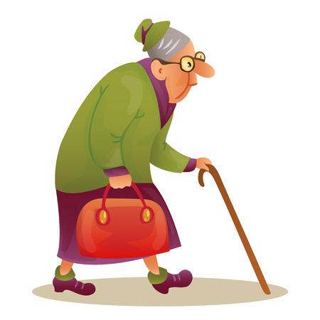 Funny elderly lady with glasses. Grandmother with stick and a bag. Hunched elderly lady with a cane. Colorful cartoon vector illustration on white background