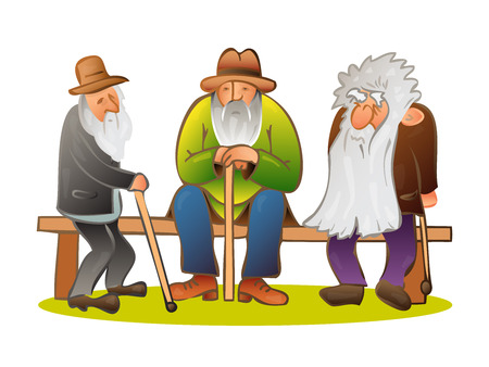 hunched: Funny three old men sitting on the bench. Old man with hat and walking cane. Sad grandfather with a long beard sitting on a bench. Retired recreation. Colorful cartoon vector illustration on white background