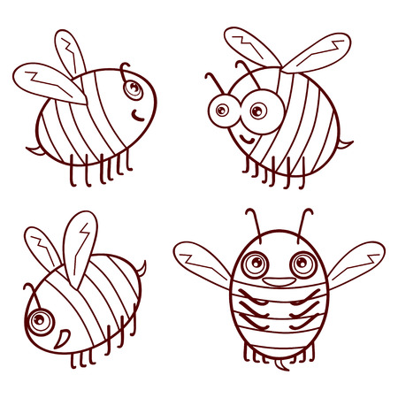 Set cartoon outline cute bees isolated on white background vector illustration
