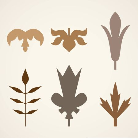 Decorative brown leaves pattern set isolated on white vector. Various shapes of brown leaves. Elements for eco and bio
