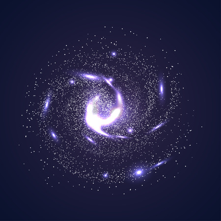 Image of galaxies, nebulae, cosmos, and effect tunnel spiral galaxy background vector illustration
