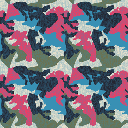 Camouflage pattern background seamless clothing print, repeatable camo glamour grunge of scratch vector. Pink, blue, olive, navy