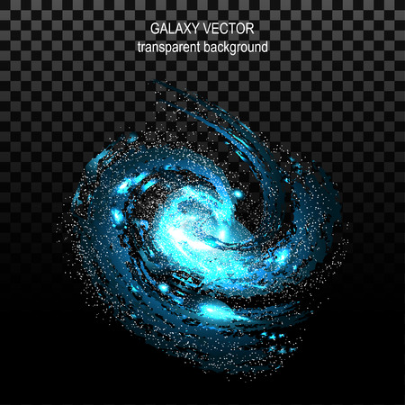 Image of galaxies, nebulae, cosmos, and effect tunnel spiral galaxy on transparent black background vector illustration Illustration