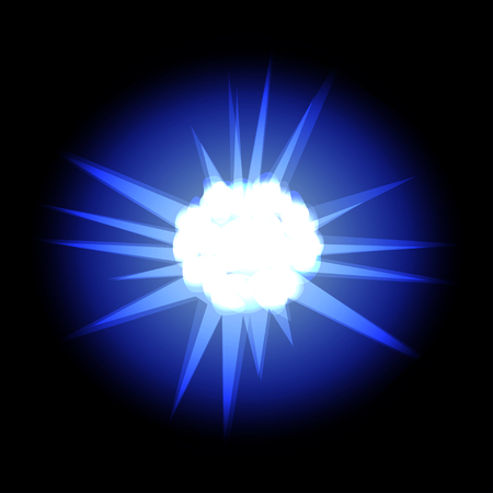 Star with rays white blue in space cosmos isolated on black background vector Illustration