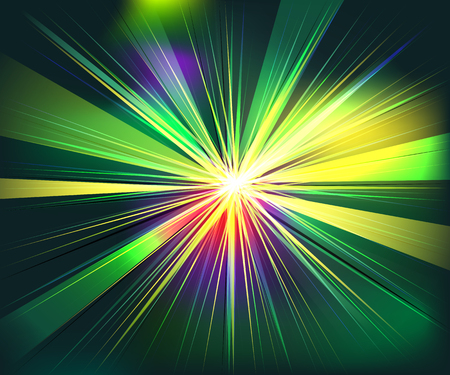 nebulae: Colorful rays explosion futuristic technology vector. Yellow green red colors Illustration