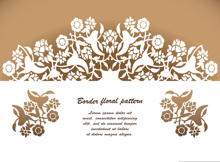 Laser cut floral arabesque ornament pattern vector. Template cutting wedding invitation, greeting card.