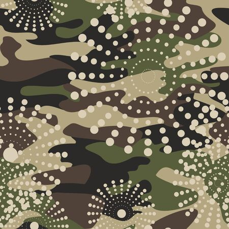dazzle: Camouflage and halftone pattern background seamless, mask clothing print. Repeatable camo vector. Dazzle paint masking abstract illustration