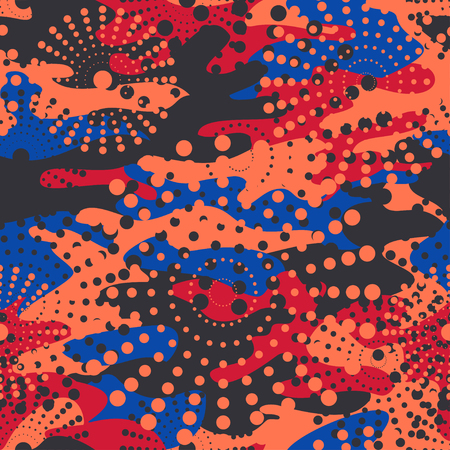 polkadot: Camouflage and halftone pattern background seamless, mask clothing print. Repeatable camo vector. Dazzle paint masking abstract illustration