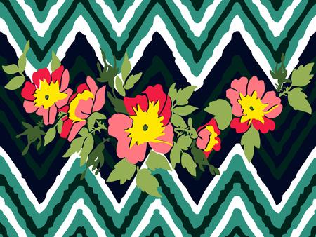 Hand drawn branche flower roses tropical vintage print on stripes zigzag pattern, grunge retro background vector illustration design for fashion, shirt, textile, greeting card, invitation, wedding
