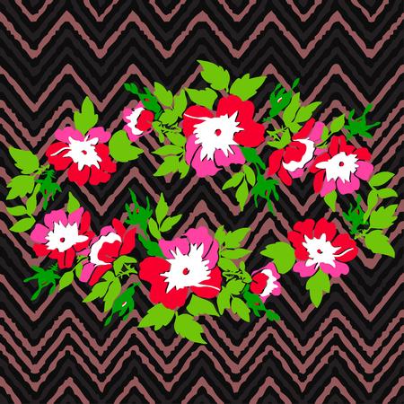 Hand drawn wreath flower roses tropical vintage print on stripes zigzag pattern, grunge retro background vector illustration design for fashion, shirt, textile, greeting card, invitation, wedding