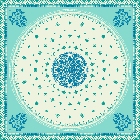 oriental rug: Victorian floral paisley medallion ornamental rug vector. Ethnic mandala towel frame. Vintage flower tile. Textile, greeting business card, coloring book, phone case print