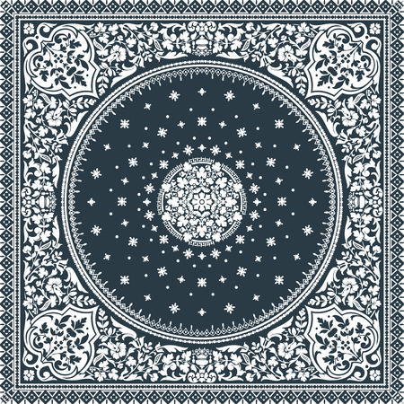 byzantine: Victorian floral paisley medallion ornamental rug vector. Ethnic mandala towel frame. Vintage flower tile. Black and white. Textile, greeting business card, coloring book, phone case print