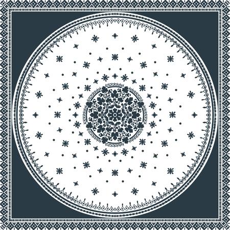 oriental rug: Victorian floral paisley medallion ornamental rug vector. Ethnic mandala towel frame. Vintage flower tile. Black and white. Textile, greeting business card, coloring book, phone case print