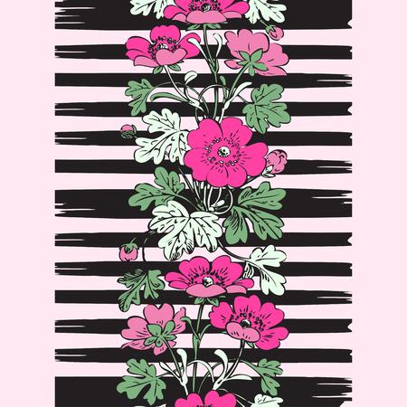 brazil beach swimsuit: Border frame seamless botanical bush with tropical flowers vintage print, stripes pattern retro spring summer background vector design, fashion, shirt, textile, greeting card, invitation, wedding