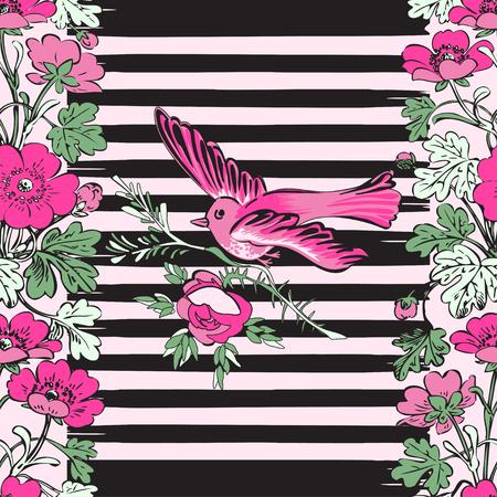 brazil beach swimsuit: Seamless exotic bird flying and botanical border frame with tropical flowers print stripes pattern geometric retro background vector design, fashion, shirt, textile, greeting card, invitation, wedding Illustration