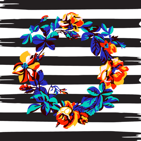 brazil beach swimsuit: Border frame botanical wreath tropical flower rose vintage print, stripes pattern retro spring summer background vector illustration design, fashion, shirt, textile, greeting card, invitation, wedding
