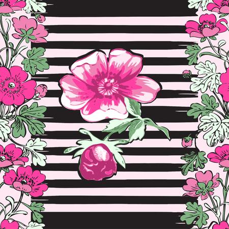 Seamless frame botanical branch with tropical flower rose print stripes pattern retro spring summer background vector illustration design, fashion, shirt, textile, greeting card, invitation, wedding Illustration