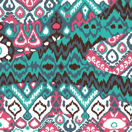 Ethnic bohemian arabesque pattern. Zigzag geometric retro abstract print. Tribal boho background vector illustration Ilustração
