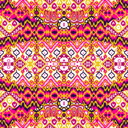 repetitive: Ethnic bohemian arabesque pattern. Zigzag geometric retro abstract print. Tribal boho background vector illustration Illustration