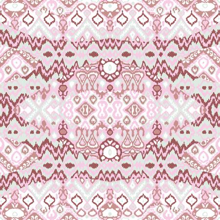 Ethnic bohemian arabesque pattern. Zigzag geometric retro abstract print. Tribal boho background vector illustration Illustration