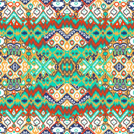 Ethnic bohemian arabesque pattern. Zigzag geometric retro abstract print. Tribal boho background vector illustration 向量圖像