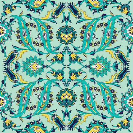 Arabesque vintage decor floral ornate pattern for design template vector. Eastern motif. Painting flowers decoration print. Ornamental illustration for greeting card, wallpaper, wedding, wrapping