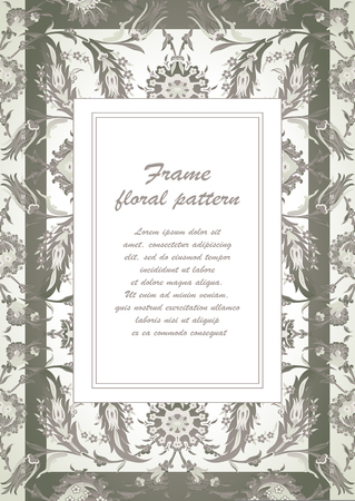 vintage postcard: Arabesque vintage decor ornate pattern for design template vector Eastern motif Floral Frame with place for text. Silver white grey flowers for save the date, greeting card, wedding invitation, poster