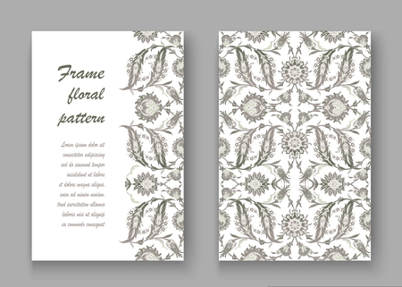 vintage postcard: Arabesque vintage decor ornate pattern for design template vector. Eastern motif. Floral Border with place for text. Silver white grey flowers for save the date and greeting card, wedding invitation