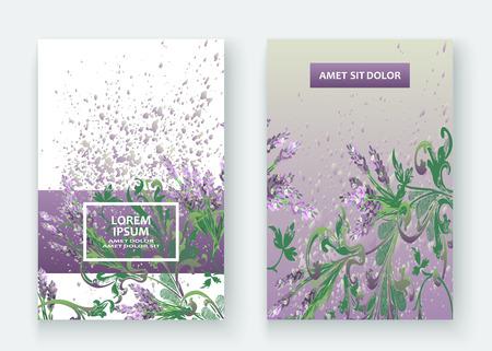 Lavender floral pattern cover design vector illustration set Stock Illustratie
