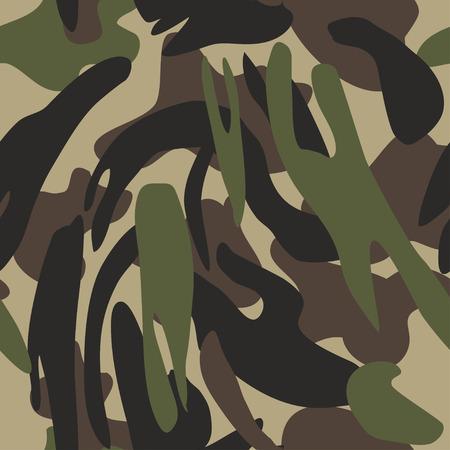 Nahtlose Vektorillustration des Tarnmusterhintergrunds. Klassischer militärischer Kleidungsstil. Camo Repeat Textur Shirt Druck. Grüne braune schwarze Olivfarben färbt Waldbeschaffenheit Vektorgrafik