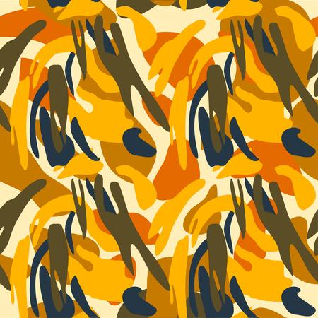 Nahtlose Vektorillustration des Tarnmusterhintergrunds. Klassischer militärischer Kleidungsstil. Camo Repeat Textur Shirt Print. Gelbbraun schwarz olivfarben färbt Dschungelstruktur