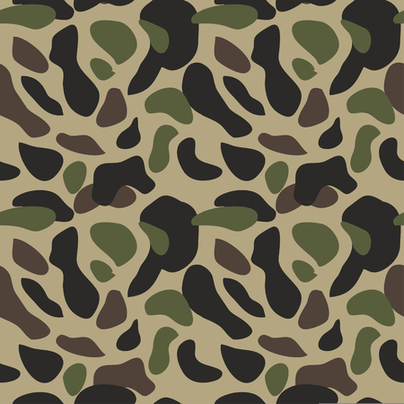 Camouflage pattern background seamless vector illustration. Classic military clothing style. Camo repeat texture shirt print. Green brown black olive colors forest texture Ilustracje wektorowe