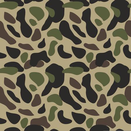 Nahtlose Vektorillustration des Tarnmusterhintergrunds. Klassischer militärischer Kleidungsstil. Camo Repeat Textur Shirt Print. Grüne braune schwarze Olivenfarben Waldstruktur Vektorgrafik