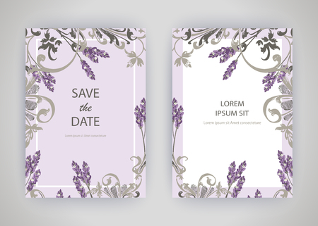 Set of card with flower lavender, leaves. Wedding ornament concept. Floral trendy poster, invite. Vector decorative greeting card or invitation design background Ilustração