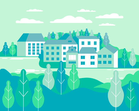 Village landscape flat vector illustration. Buildings, hills, lake, flowers and trees, abstract background for header images for websites, banners, covers Vector Illustration