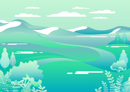 Village landscape in trendy flat style vector illustration. Mountains and hills, flowers and trees, abstract background with copy space for header images for websites, banners, covers