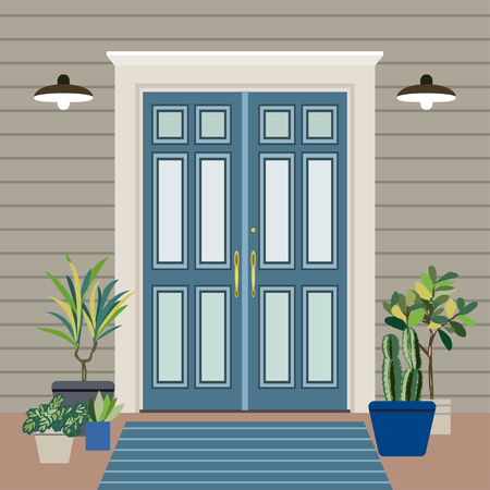 House door face side design illustration vector in flat stile, building front facade of the entry Vetores