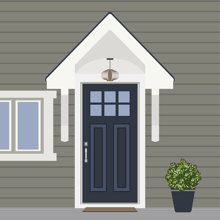 House door face side design illustration vector in flat stile, building front facade of the entry