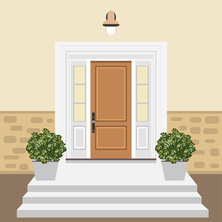 House door front in flat style, building entry facade design illustration vector