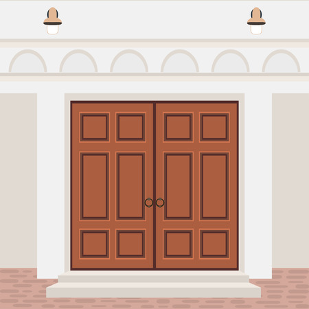 House door front with steps and lamps, building entry facade, exterior entrance design illustration vector in flat style